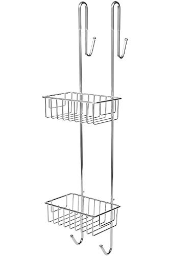 Bamodi Shower Caddy Hanging - 2-Tier Storage Basket - Chrome-Plated Steel Bathroom Shelves - No Drilling Required - Large Hangable Shower Caddies with 2 Towel Hooks - For Tall Bottles (silver)