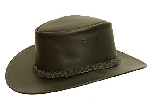 Kakadu Traders Lederhut Colonial in braun und schwarz mit geflochtenem Hutband | Herren Damen Größe XL | 2.Wahl -