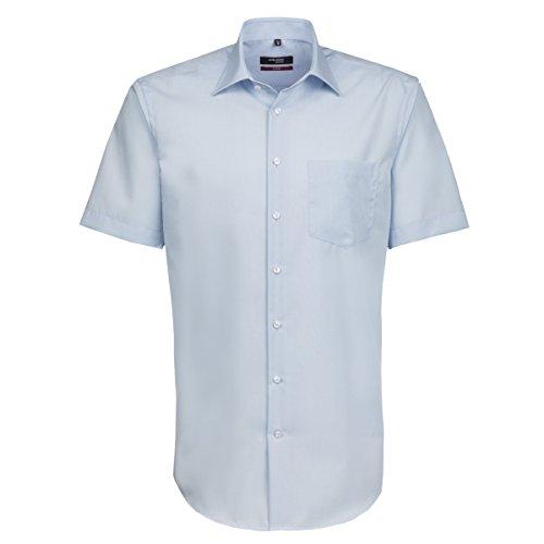Seidensticker Herren Businesshemd Modern Kurzarm mit Kent-Kragen Bügelfrei Blau (Hellblau 48)