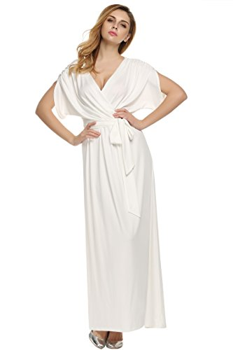 ANGVNS Women's Elegant Batwing Dolman Sleeve Classy Maxi Evening Dress