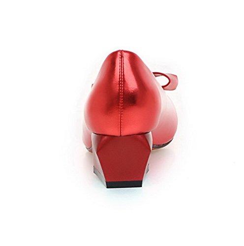 VogueZone009 Femme Couleur Unie Pu Cuir à Talon Correct Tire Rond Chaussures Légeres Rouge