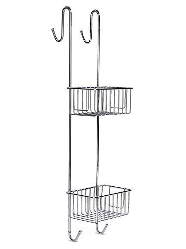 Euroshowers Duschablage zum Hängen Edelstahl Rostfrei - Duschablage ohne Bohren rutschfest Duschkorb zum Einhängen mit Handtuchhalter Höhe 70 cm