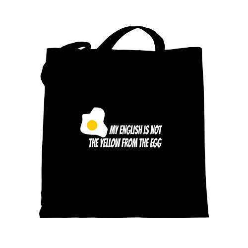 Shirtfun24 Baumwolltasche MY ENGLISH IS NOT THE YELLOW FROM THE EGG schwarz