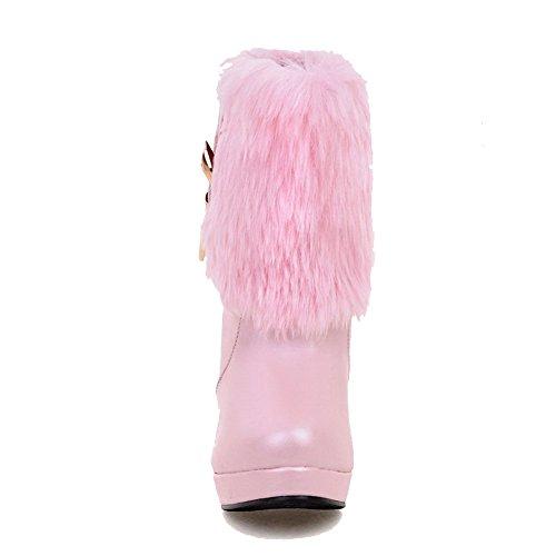 AllhqFashion Damen Rein Weiches Material Hoher Absatz Ziehen Auf Stiefel mit Metallisch Pink