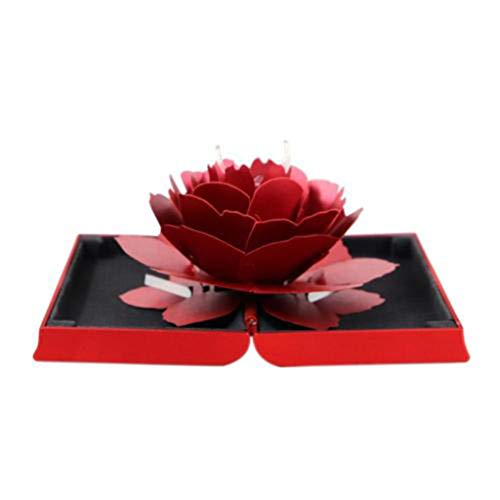 TAOtTAO - Caja de Almacenamiento 3D para Anillos de Boda, Compromiso, joyería, Soporte de Almacenamiento, Rojo, 12cm x 6.8cm x 2cm/4.72' x 2.68' x 0.79' (Approx.)
