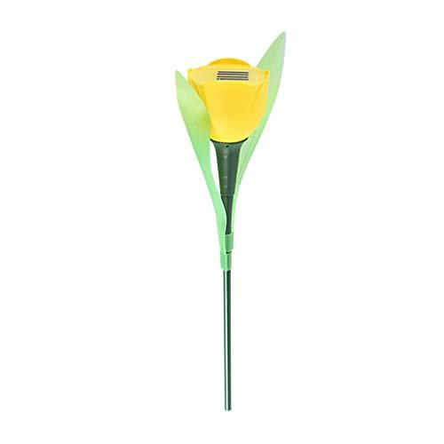 2Pcs Nachtlicht Outdoor FeiliandaJJ Garten Licht LED Solar Tulpe Blumen Licht Lichterkette Hochzeit Party Yard Garten Rasen Landschaft Lampe (Gelb)