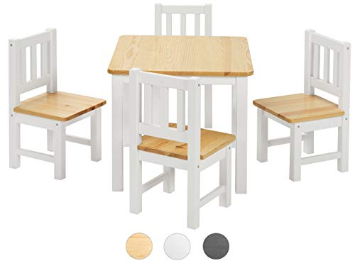 ♥ BOMI® Baby Möbel Set 4 Stühle und Tisch Amy aus Kiefer Massiv Holz für Kleinkinder ab 24 Monate bis 6 Jahre - Runde Spiel-tisch