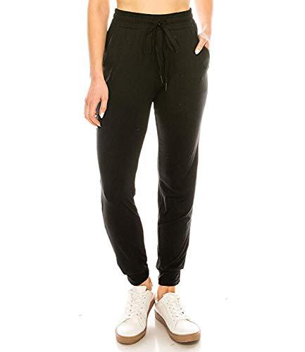 FITTOO Damen 2 Gestreift Streifen Freizeithose Jogginghose Hose Sportswear Style,Schwarz(keine Streifen),M