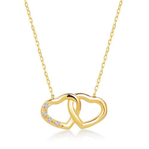 Gelin gold collana da donna a forma di cuore in oro giallo 14 carati – collana in vero oro giallo 585 con diamante da 0,01 ct e cuore intrecciato, regalo per compleanno san valentino – collana 45 cm