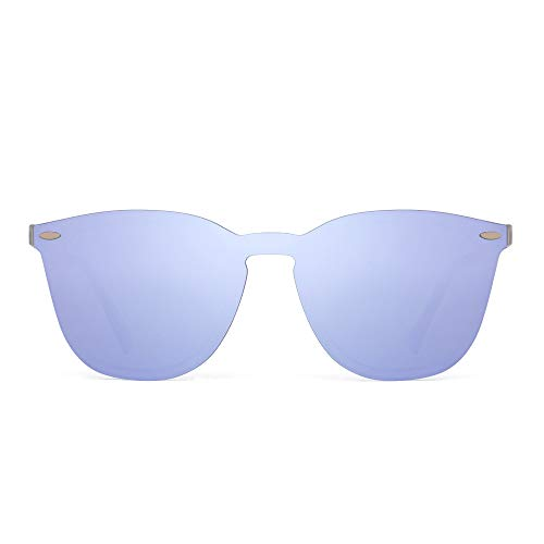 JIM HALO Randlos Sonnenbrillen Ein Stück Spiegel Reflektierend Brillen für Damen Herren(Matt Transparent/Spiegel Lila)