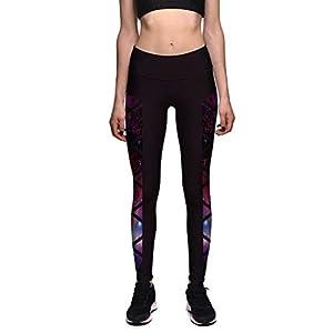 Fenical Frauen-Sport-Gamaschen-hohe Taillen-neunte Hosen-Stern-Druck-Sport-Trainings-Turnhosen