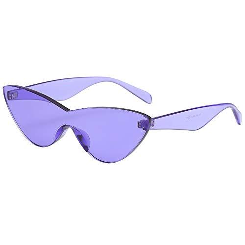 Whycat Sonnenbrille Damen Verspiegelt One Piece Randlose Sonnenbrille Transparent Candy Farbe Brillen Sonnenbrillen Für Frauen Cateye(F)