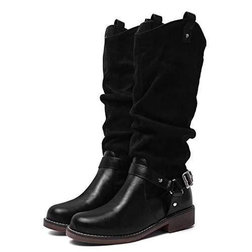 ABsoar Mittellange Stiefel Damen Ritter Stiefel Retro Motorradstiefel Stiefeletten Dicke Stiefel Ferse Stiefeletten Schuhe Outdoor Rutschfeste Boots (Fell-stiefel Ferse Weißes)