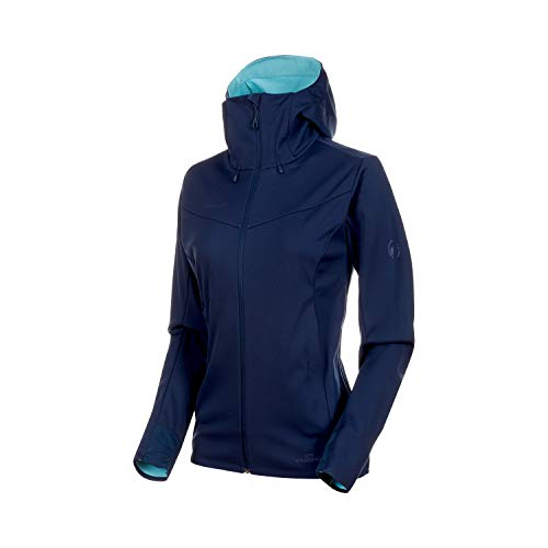 Mammut Damen Ultimate V Softshell-Jacke Mit Kapuze, Peacoat-Waters Melange, M (Patagonia-hooded Fleece)