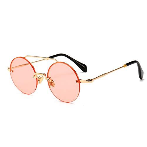Yiph-Sunglass Sonnenbrillen Mode Moderne Retro Art-kleine runde Frameless Sonnenbrille für Frauen-UVschutz für das Ferien-Fahren. (Farbe : Rosa)
