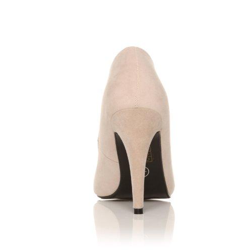 ShuWish UK Damen Darcy Stiletto Pumps High Heel Vorne Spitz Zulaufend Kunstwildleder Nude Velours