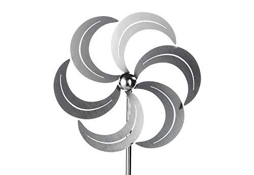 Kobolo Windrad Gartenstecker Dekostecker Windspiel Mill aus Edelstahl Silber 100 cm | Garten > Dekoration > Windräder | Edelstahl | Kobolo