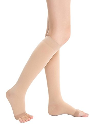 COMVIP Women Knee High Open/Closed Toe Graduated Medical Compression Socks