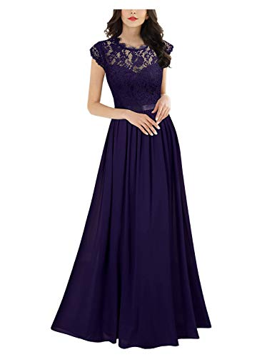 Miusol Damen Elegant Ärmellos Rundhals Vintage Spitzenkleid Hochzeit Chiffon Faltenrock Langes Kleid Lila Gr.M - Kleid Lila Chiffon-langes