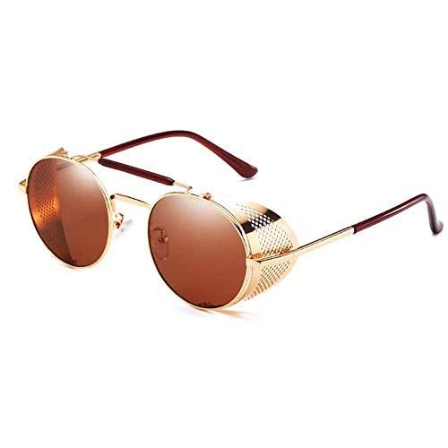 HETAIDA Sonnenbrille, runde Metallrahmen Polarisierte UV400 Schutzbrille, Retro Steampunk für Männer und Frauen (Gold)