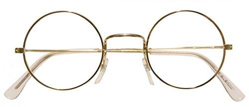 Brille mit goldenem Rand für Weihnachtsmann Oma Opa Zwerg Nikolaus Weihnachten:rund