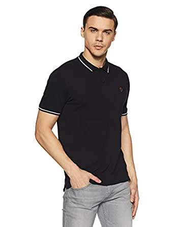 Van Heusen Men's Solid Regular Fit Polo (VSKP517S011408_Black_S)