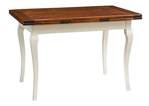 Table de style Country extensible en bois massif de tilleul châssis blanche patinèe surface en noisetier aux dimensions L120 xPR80 xH80 cm