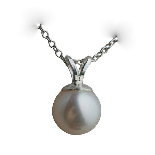 Ciondolo con perla coltivata rotonda bianca 8,5 x 8 mm in argento con catena Rolo, Argento, cod. FP8085SPBR30SRL18