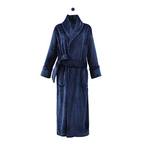 UCYG Herren Bademantel Coral Fleece, Plus-Samtverdickung Super Soft Komfortable Spa Robe Lounge Haus Leichte Robe for Männer-L, XL, XXL (Color : Navy, Size : L)