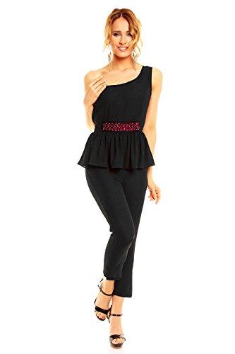 Mayaadi Damen Overall Chiffon Ärmellos One-Shoulder Jumpsuit Elegant Einteiler HS-272 Schwarz M