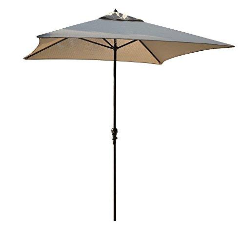 YUEBO Sonnenschirm Viereckig Gartenschirm Kurbelschirm Strandschirm UV Schutz Grau für Balkon, Garten, Terrasse