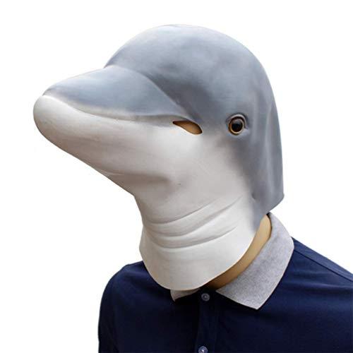 RISILAYS Halloween-Neuheit-Lustige Latex-Tierdelphin-Kopf-Maske Bilden ()