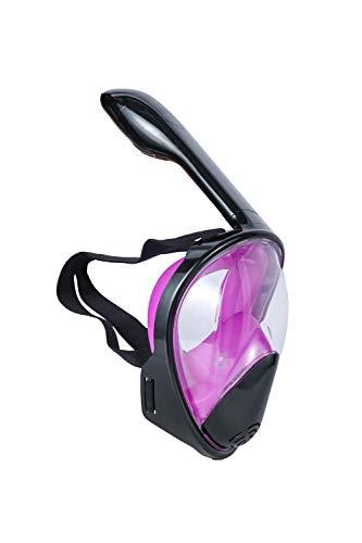 SWJJ Vollmaske Schnorchelmaske Tauchmaske Vollgesichtsmaske mit 180° Sichtfeld, Anti-Leck Technologie für Erwachsene und Kinder Schnorchelausrüstung_Purple_S