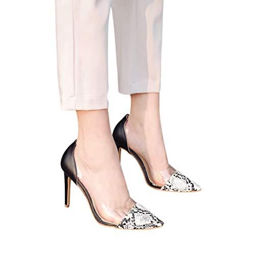 HILOTU Damen Freizeit High Heels Modische Glänzende Farbe Schlangenmuster Party Sandalen Spring Summer Urban All-Match-Sandalen Im Pull-On-Stil (Color : Weiß, Size : 38 EU) -