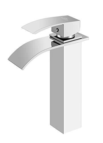 Auralum Square Waterfall Faucet Single Lever - Mezclador de lavabo con base de cobre grifo mezclador para lavabo para baño (alto)