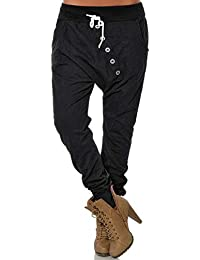 ASKSA Damen Jogginghose mit Knopfleiste Haremshose Frauen Boyfriend Chino Stoffhose Sweatpants Baggy Freizeithose Trainingshose Loose Fit Jogger