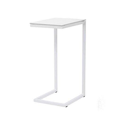 Logique cribel Table en métal, en verre trempé, laqué blanc