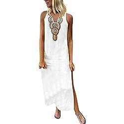 Aini Mujer Verano De Playa Vestido Estampado Vestido De Lino Y AlgodóN Sin Mangas Vestidos De Fiesta para Bodas Talla Grandes Vestidos Playa Mujer Vestidos Casuales Vestido Midi Vestido Verano