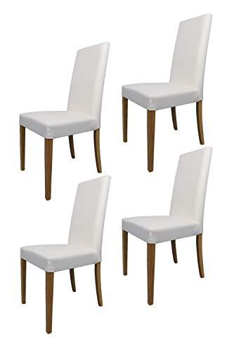 Tommychairs sillas de Elegancia - Set de 4 Sillas GINEVRA de Cocina, Comedor, Bar y Restaurante con Estructura en Madera de Haya Pintado Color Roble y Asiento tapizado en Polipiel Color Blanco
