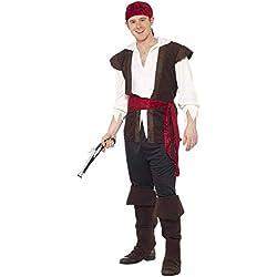 Traje de pirata para hombre, color negro.