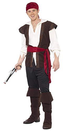 Smiffys, Herren Piratenkostüm, Kopftuch, Oberteil, Hose, Gürtel und Überstiefel, Größe: XL, 20469