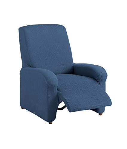 Textilhome - Copripoltrona Relax Completo TEIDE Elasticizzato, Taglia 1 Posti - 70 a 100Cm. Colour Blu