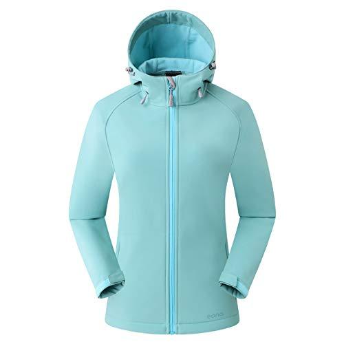 Amazon Marke: Eono Essentials Damen-Softshell-Jacke mit Kapuze, Übergangsjacke - Medium, Grün