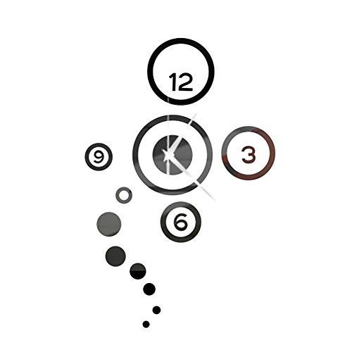 LAMEIDA Reloj de Pared 3D del Etiqueta de la Pared Adhesivo de Reloj Digital de Pared DIY Moderno decoración de Reloj Espejo Accesorios Decorativos de Pared de casa (Negro)