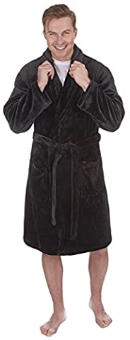 Strong Souls Luxury Men Flannel Fleece Dressing Gown Robe Housecoat + Belt Xmas Gift Size UK S-XXL