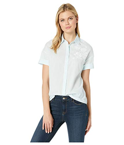 U.S. Polo Assn. Womens Yarn-Dye Embroidery Stripe Blouse -