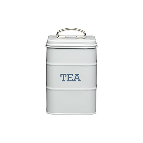 KitchenCraft 17cm Tea Canister, Stainless Steel, French Grey, 11 x 17 cm