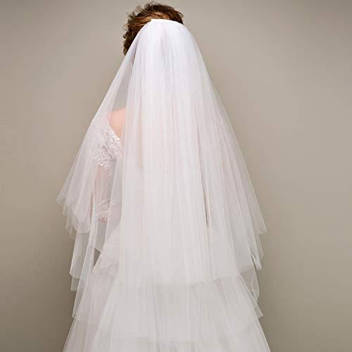 YANGLAN Weiße Braut-Hochzeits-Schleier-weiche Netz-Doppelschicht, Braut-Hochzeits-Kleid-Zusatz-Schleier, Reisefoto/Engagement/Foto/Leistung (Sheer Hochzeits-kleid)