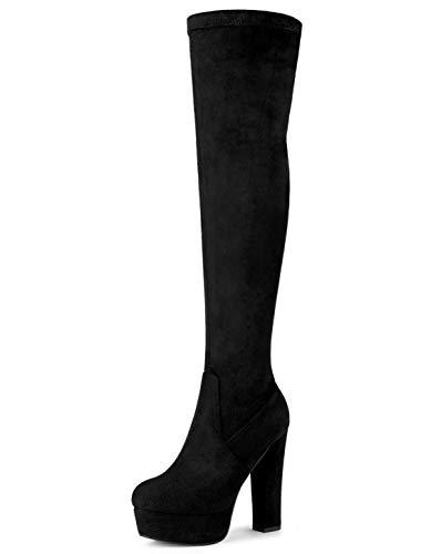 Allegra K Botas De Tacón Alto De Bloque sobre La Rodilla con Plataforma para Mujer - Negro/US 8.5, EU 39