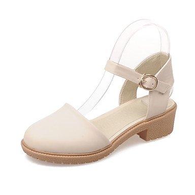 zhENfu Donna Sandali Comfort PU Estate Abbigliamento Casual Comfort fibbia Chunky Heel arrossendo Rosa Bianco Nero 1A-1 3/4in White